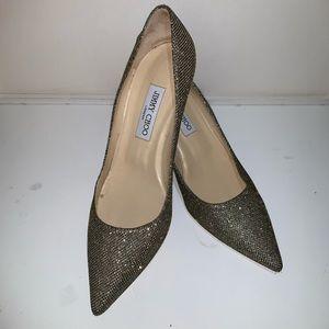 Jimmy Choo metallic gold kitten heels